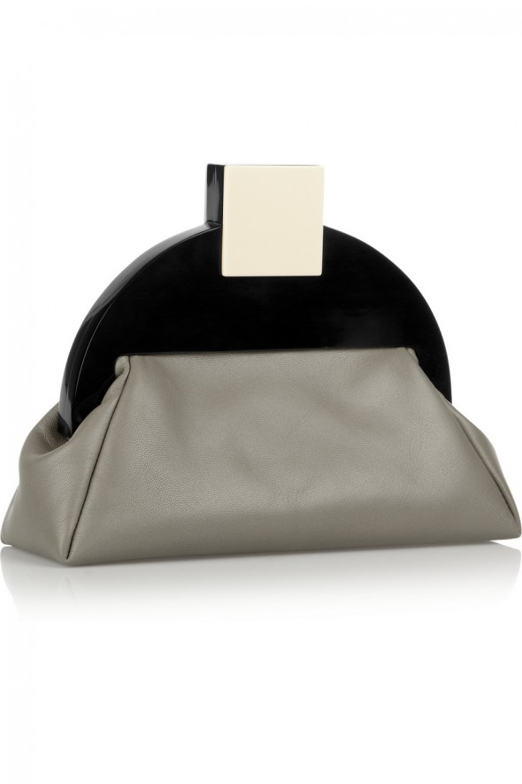 Haute Bag of the Week: MATTER MATTERS Deco clutch; leather and acrylic; side view